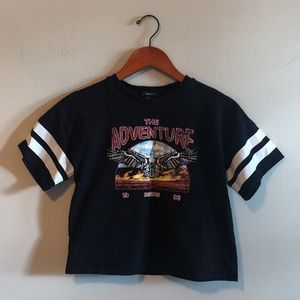 Vtg Inspired Graphic Crop Top T-Shirt Black Small